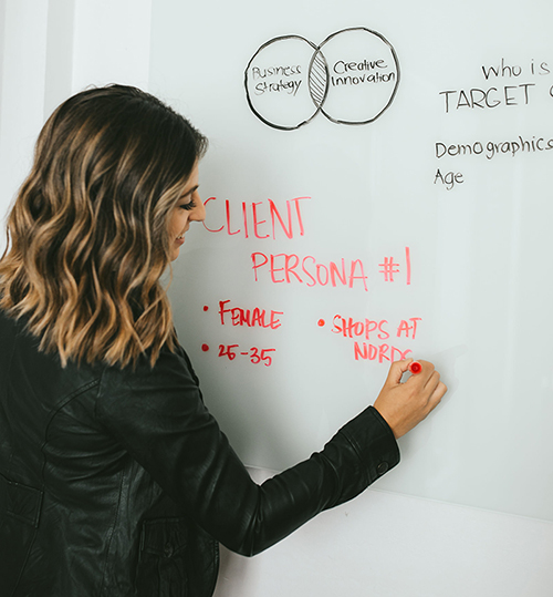 Carolina Andes performing a client persona exercise on a white board